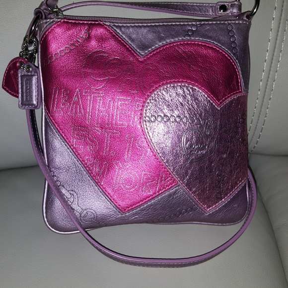 10a0a381f9 Coach Bags | Purple Heart Leather Small Cross Body Bag | Poshmark